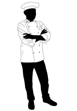 confidently: cook chef confidently posing - vector