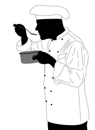 kitchen chef tasting sauce illustration - vector