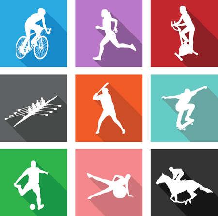 extreme sports: sport silhouettes on flat icons for web or mobile applications - vector