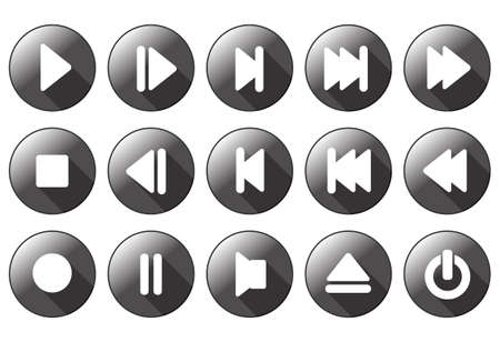buttons vector: simple multimedia buttons - vector