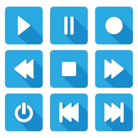 multimedia icons: flat style multimedia  icons for web and mobile application - vector