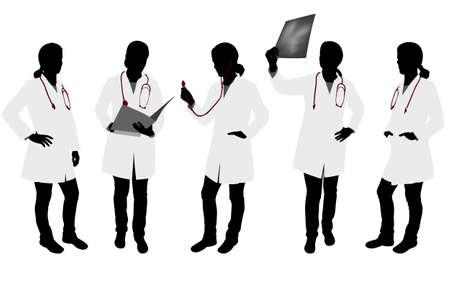 female silhouettes: female doctor silhouettes - vector Illustration