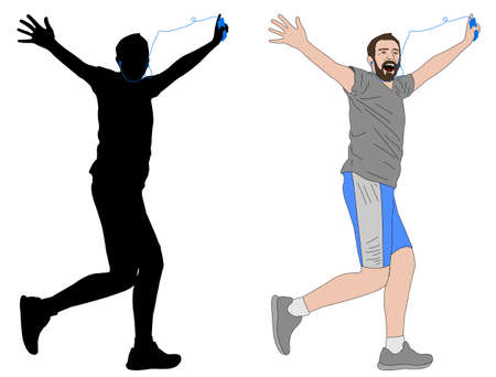 long distance: happy man running with earphones illustration and silhouette - vector