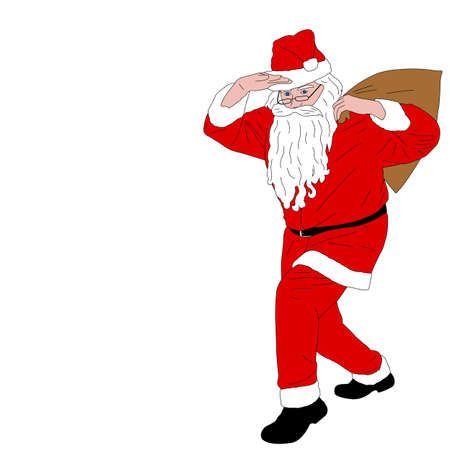 Santa Claus carrying  bag full of gifts - vector