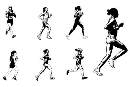 female marathon runners sketch illustration - vector