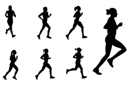 female silhouettes: female marathon runners silhouettes - vector