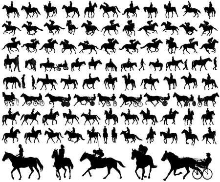 mensen rijden paarden silhouetten collectie - vector illustratie
