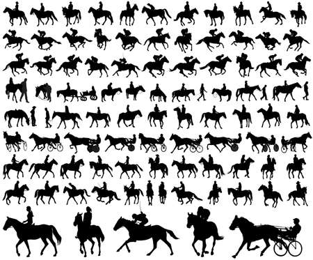 chariot: people riding horses silhouettes collection - vector illustration
