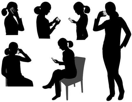 woman cellphone: woman with cellphone - vector Illustration