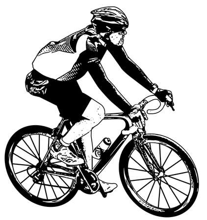 cycle suit: bicyclist sketch - vector