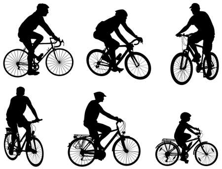 cycle suit: bicyclists silhouettes set - vector