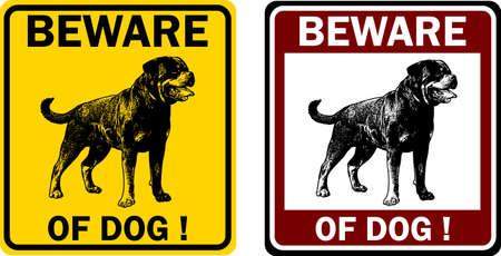 beware: beware of dog sign - vector Illustration