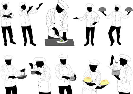 preparing food: collection of kitchen chefs preparing food silhouettes - vector Illustration