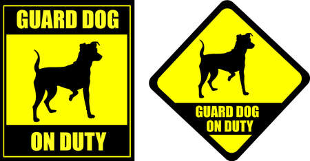 pincher: funny sign guard dog on duty - vector