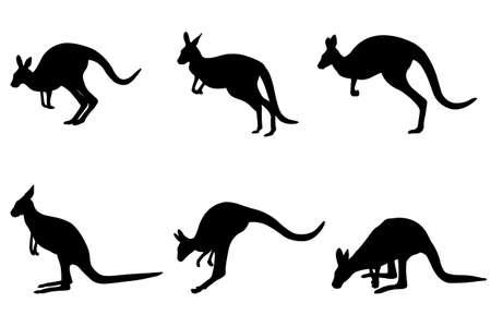 kangaroo silhouettes collection - vector