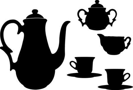english ethnicity: tea or coffee set silhouettes  - vector