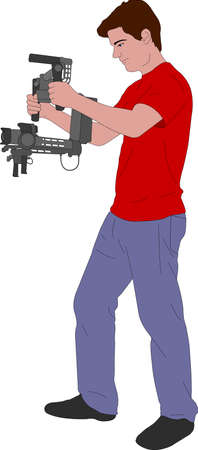 videographer: Videographer with handheld steady cam illustration - vector
