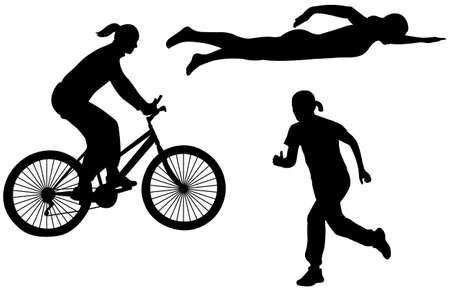 triathlon silhouettes - vector