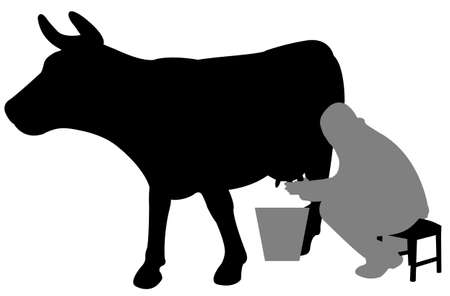 man milking a cow silhouette - vector