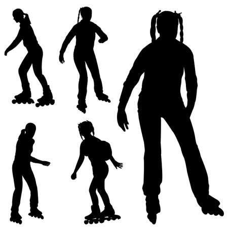 rollerblade: silhouettes of roller blade girl - vector