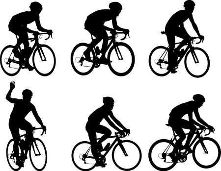 Racing bicyclists silhouettes collection - vector illustration.