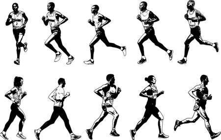 competitor: runners collection, sketch illustration - vector