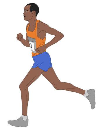 Marathon runner, gedetailleerde illustratie - vector