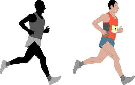 endurance run: marathon runner,detailed illustration - vector