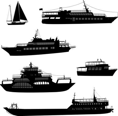 ships and boats silhouettes - vector