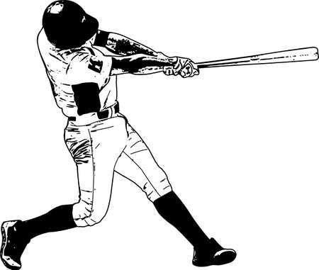Honkbalspeler, schetsillustratie. Vector Illustratie
