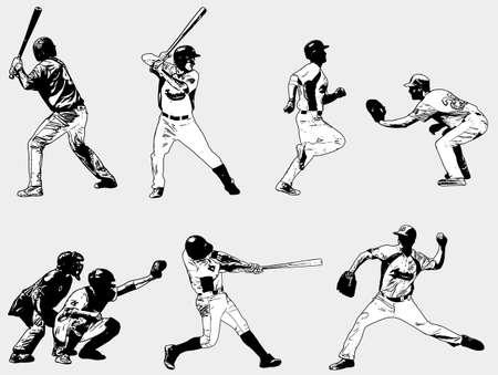 geplaatste honkbalspelers - schetsillustratie - vector Stock Illustratie