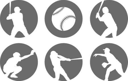 간단한 야구 아이콘 세트 - 벡터 일러스트