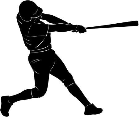 rundown: Baseball player silhouette - vector Illustration