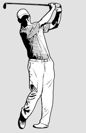 shot put: golf player sketch illustration - vector Illustration
