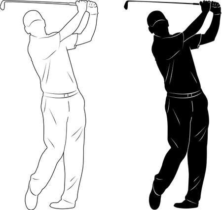 shot put: golf player silhouette - vector