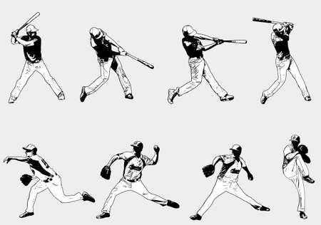야구 선수 세트 - 스케치 그림, 벡터 일러스트