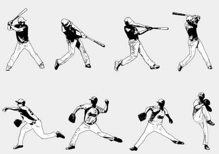 baseball players set - sketch illustration, vector  Illustration