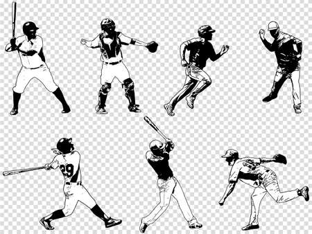 Baseball players set - sketch illustration,vector