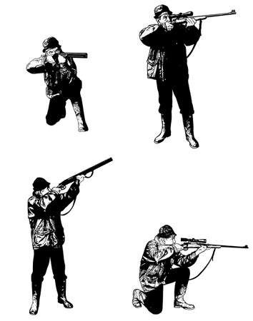hunters: hunters sketch set -  illustration, vector