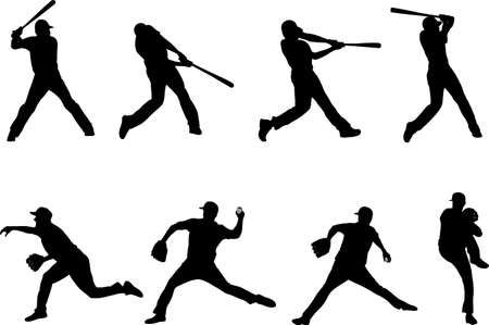 baseball silhouettes collection 4 - vector