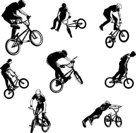 Collection de croquis de cyclistes acrobatiques BMX.