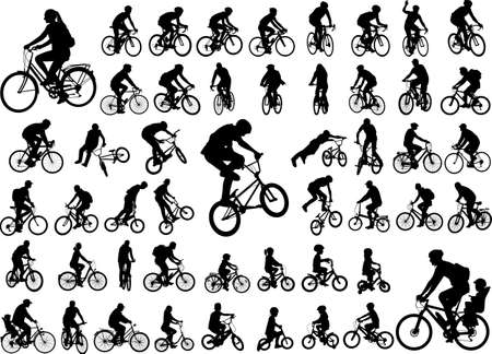 50 hoogwaardige silhouetten van bicyclists silhouetten Stockfoto - 87902254