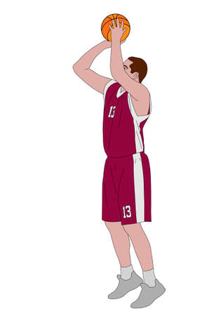 basketbalspeler schieten vrije worp - vector illustratie
