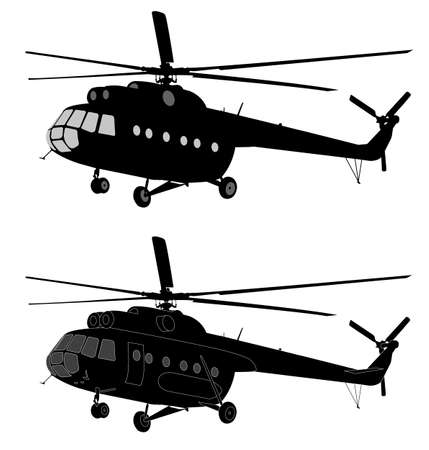 Silhouettes of helicopters.