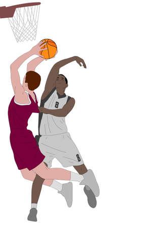 illustration de joueurs de basket-ball - vector