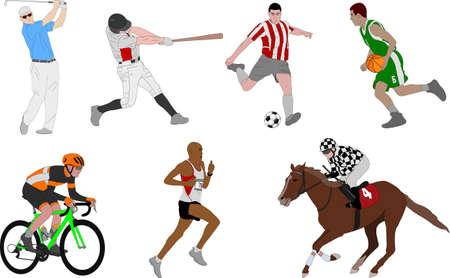 shot put: Various sports detailed illustration - vector