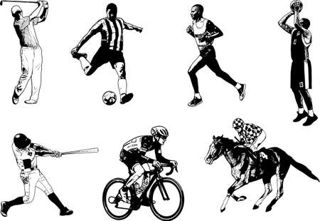 shot put: Various sports sketch illustration.