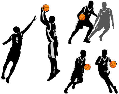 バスケット ボール選手のシルエット コレクション 2。  イラスト・ベクター素材