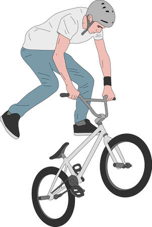 bmx stunt bicyclist illustration - vector