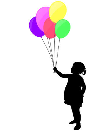Silhouette illustration of little girl holding colorful balloons
